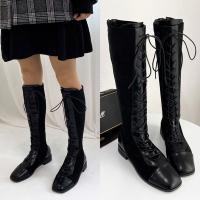 [애슬릿]스퀘어 레이스업 여성 워커 롱 부츠 3cm