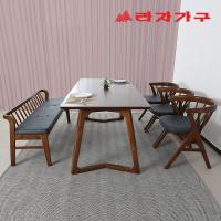 팔키 고무나무 원목 6인 식탁+벤치의자 세트