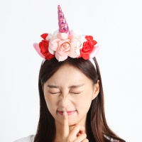 플라워 유니콘 뿔 머리띠 [핑크]