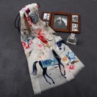 [더로라]캐시미어 스카프-  꽃과 파란말안장 S8323