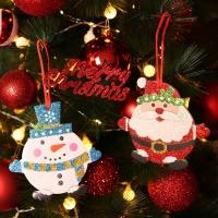 글리터 산타와 눈사람 오너먼트 장식