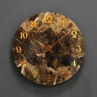 (khyn007)저소음 대리석디자인 시계 숫자 (브라운)