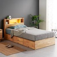 [노하우] 로뎅 LED 고무나무원목 B형 4서랍 침대 SS