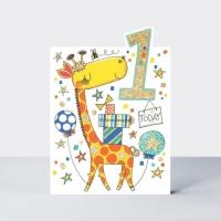 한살 아이 생일 카드 - 기린 Age 1 [CHERRY6]
