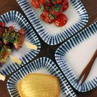 일본식기 야나기 둥근사각 접시