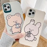 아이폰 캐릭터 곰돌이 토끼 드로잉 커플 실리콘케이스