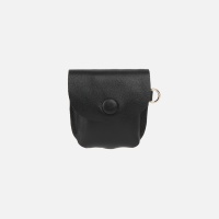 Button Shoulder AirPods Leather Case Black
