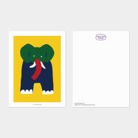 [카멜앤오아시스] Twins Yellow 코끼리 엽서