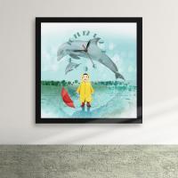 iw067-소년과돌고래의비오는날의꿈액자벽시계_디자인액자시계