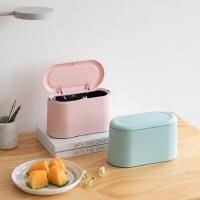 미니 인테리어 슬림 탁상용 쓰레기통-핑크