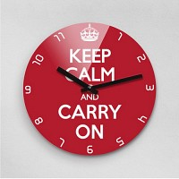 Reflex KEEP CALM AND CARRY ON 무소음벽시계(대) KYE280-RD
