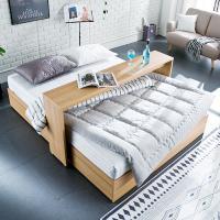 [채우리] 로라 침대 Q_겹면 양면매트리스 포함 + 베드테이블
