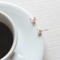 제이로렌 M01415 트리플 큐빅 진주 로즈골드 귀걸이