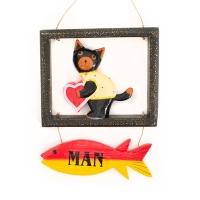 고양이 하트 남자 사인보드