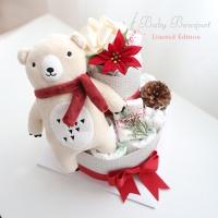 크리스마스 곰인형 2단 기저귀케익(곰돌이인형+양말+워시타올)