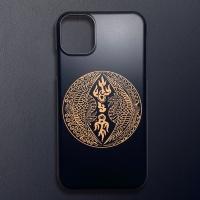 전통 문양 쌍봉황문 블랙 골드 디자인 휴대폰 케이스