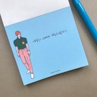 메모왕 일러스트 메모지-핑크바지남자