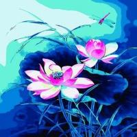 [DIY명화]B134맑은물연꽃 size 40*50cm(물감2배)