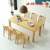 미농 고무나무 원목 식탁 세트 6인용 의자형 B