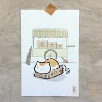 도로보우네코 박스 고양이 일러스트 엽서