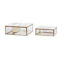 [Hubsch]Glass box w/feather print, brass/glass, s/2 409092 수납박스