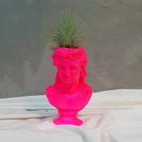 핑크 야광 페인팅컨셉 석고상화분 이오난사+모스+리본