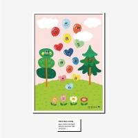 벌룬프렌즈 A4,A3 포스터 - 나무와 풍선친구들