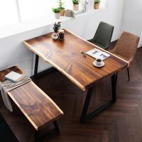 [채우리] 모두 와이드 4인 뉴송 우드슬랩 식탁세트(의자/벤치)