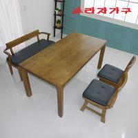 두라스 고무나무 원목 식탁세트 벤치형 4인