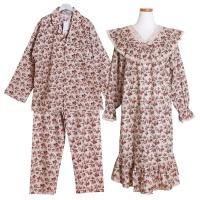 [쿠비카]로즈 패턴 원피스 커플 순면잠옷 WM195