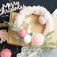 겨울 리스 인테리어소품 양털 울 리스 크리스마스장식