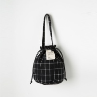 Strap Bucket Bag (Black Check) - P005B_BC