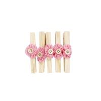 핑크 도트 꽃 단추 우드집게 세트
