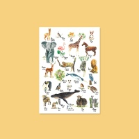 수채화 동물 포스터