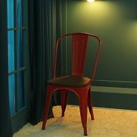 [썸바이썸] 빈티지 철재의자-우드상판 (무광)3color