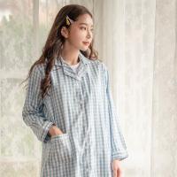테라우드 여성용 로브 코튼 체크 원피스 잠옷