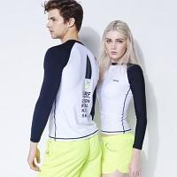 [AGUSFIN] SURFERS RASHGUARD (WHITE-BLACK)