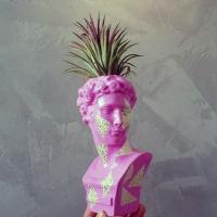 호피 트라이앵글 소형 미니 석고상화분 20cm+리본2개