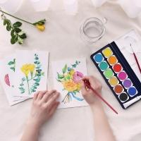 꽃다발 우드스탠드 수채화 온라인 취미 클래스