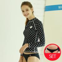 [OLA]올라 여성 래쉬가드세트 블랙도트+비키니팬츠 비치웨어/써핑/SET/수영복