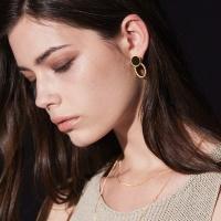 onyx rope earring-L