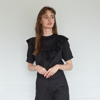 FRILLY BLOUSE _ BLACK