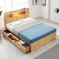 [노하우] 로이 고무나무원목 LED 4서랍 침대 Q