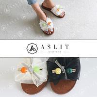 [애슬릿]발 편한 보석 리본 장식 통굽 슬리퍼