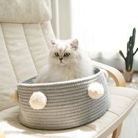 [봉봉펫닷컴] 고양이 바구니 폼폼 미니 바스켓