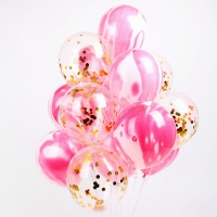 마블 컨페티풍선세트(15개입) 핑크