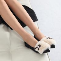 여성 스웨이드 큐빅리본 퍼안감 앞코지 로우힐 로퍼 1cm