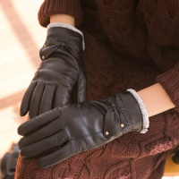 골드 포인트 리본 여성 가죽장갑