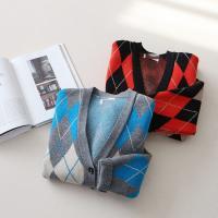 Wool Argyle Check Cardigan