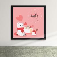 cy555-곰돌이의사랑고백액자벽시계_디자인액자시계